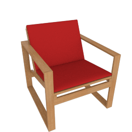 Block Island Lounge Chair, With Logo Red