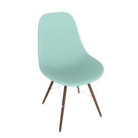 Eames Molded Plastic Dowel-Leg Side Chair (DSW), Aqua Sky with Chrome Base and Walnut Leg