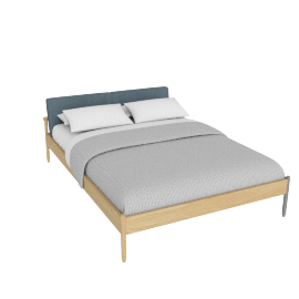 Raleigh Queen Bed, Ducale Wool Robins Egg Oak Frame