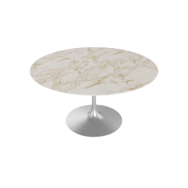 Saarinen Round Dining Table 54'', Coated Marble 1 - Wt.Arbes.Satin