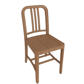 1006 Navy Wood Chair, White Oak