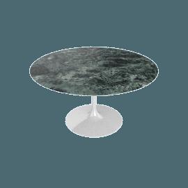 Saarinen Round Dining Table 54'', Coated Marble 2 - Wht.VerdeAlpi