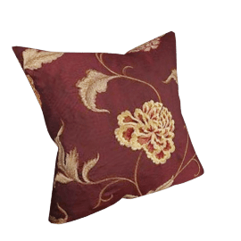 Regal Flower Cushion, Claret