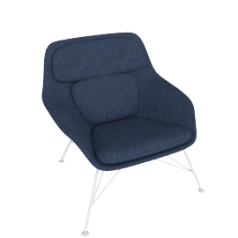 Striad Chair, Low Back with Wire base, Noble Heathered Twilight/Black Shell with White base