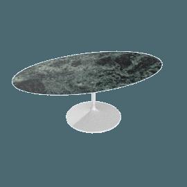 Saarinen Oval Dining Table 78'', Coated Marble 2 - Wht.VerdeAlpi