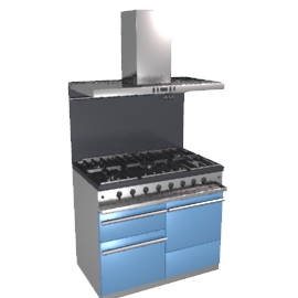 Westahl WG1053GECTBPRAPK1 Dual Fuel Cooker, Hood and Splashback Package, Prussian Blue