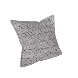 Velvet Smocked Filled Cushion - 45x45 cms, Grey