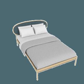 Asare Double Size Bed, Brass/Marine Grey Velvet