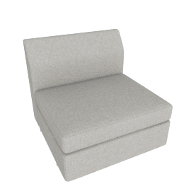 Bevel Sofa Group Single Seat, Noble Fabric Heathered Grey with Ebony Leg