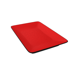 Oblong Earthenware Plate, Red, 30 x 20cm
