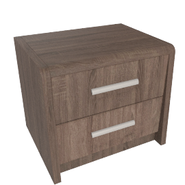 Saturn 2 Drawers Night Stand, Medium Oak
