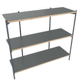 Mino low shelving unit, grey
