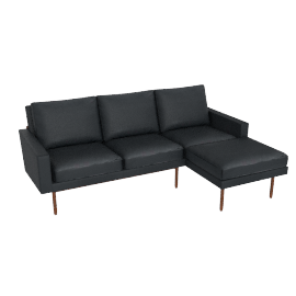 Raleigh Sectional with Right Chaise, Walnut, Vienna Leather Ebony