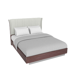 Caroline 180X210 Bed-D.Maple/Silver