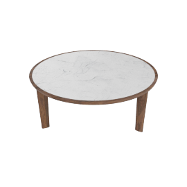 Port Coffee Table, Carrara Top Walnut Base
