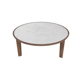 Port Coffee Table, Carrara Top Walnut Base