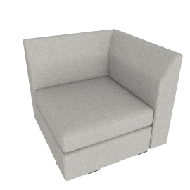 Bevel Corner, Noble Fabric Heathered Grey with Ebony Leg