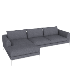 Jonas Sectional with Chaise, Fabric: Pebble Weave Pumice Leg: Aluminum