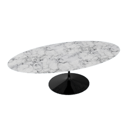 Saarinen Oval Dining Table 96'', Coated Marble 1 - Blk.Arabescato