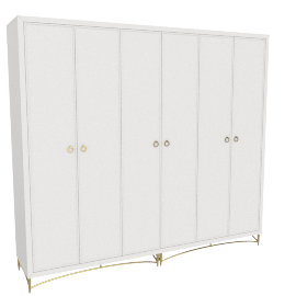 Adele 6 Dr Wardrobe-Light Cream-Gold