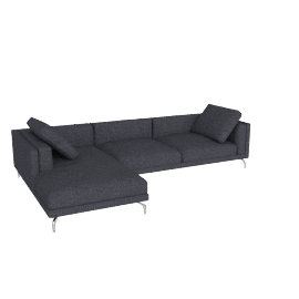 Como Sectional Chaise in Fabric, Left, Lama Tweed, Coal