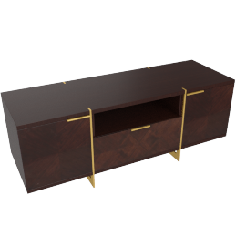 Belle Low TV Unit, Dark Cherry/Gold