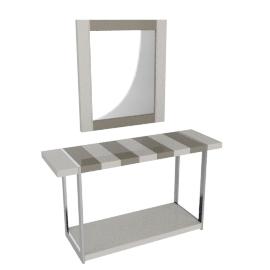 Hilton Console With Mirror, HG Cream/Grey