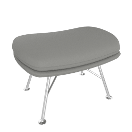 Striad Ottoman with Wire base, MCL Leather Grey, Trivalent Chrome