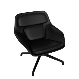 Striad Chair, Low Back with 4-Star base, MCL Leather Black, 4-Star, Black Base