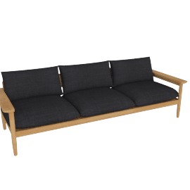 Terassi Three-Seater Sofa, Char