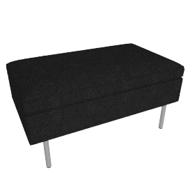 Bolster Ottoman, Capri Graphite with Brushed Stainless leg