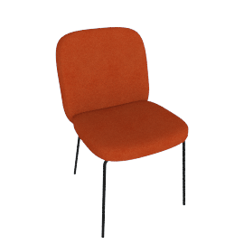 Safia Dining Chair, Flame Orange Velvet