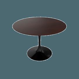 Saarinen Round Dining Table 42'', Veneer - Black.DrkWalnt