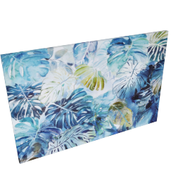 Jungle Blues Printed Canvas With Color Gel 100X3.8X150Cm-Multicolor