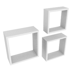 Cairo Set of 3 Wall Cube, White