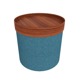 Drum Pouf - High, Teal with walnut tray