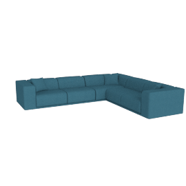 Kelston Corner Sectional Right-Facing, Linen Weave Fin