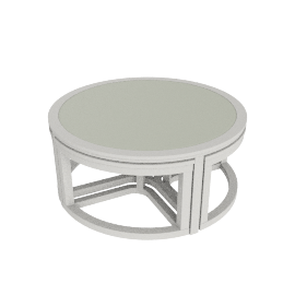 Stella Coffee Table with 4 Stools, Pearl White