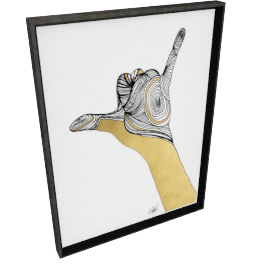 Sign Language V by KelliEllis - 24''x32'', Black