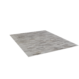 Thin Strip Cowhide Rug 8x10, Light Grey