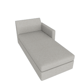 Bevel Chaise, Noble Fabric Heathered Grey with Ebony Leg