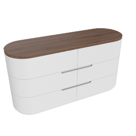 Alexis 6 Drawers Dresser, HG Light Grey/Walnut
