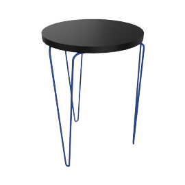 Florence Knoll Hairpin Stacking Table, Black Top Blue Base
