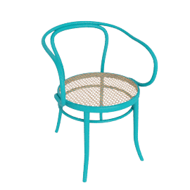 Era Round Armchair with Cane Seat - Turquoise