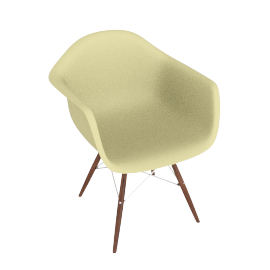 Eames Molded Plastic Dowel-Leg Armchair (DAW), Pale Yellow with Chrome Base and Walnut Leg