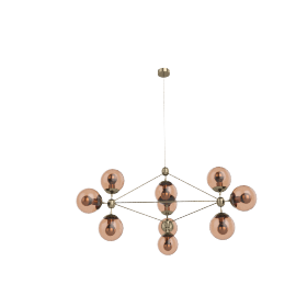 Modo Chandelier - 3 Sided - 10 Globe - Brass