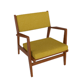 Jens Chair, Walnut, Boucle - Ochre