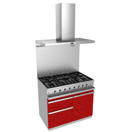 Westahl WG1052GECTAPK1 Dual Fuel Cooker, Hood and Splashback Package, Chinese Red