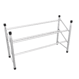 Silver Finish 2 Tier Expandable Shoe Rack