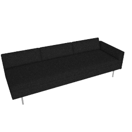 Bolster Sofa Right Arm, Capri Graphite with Brushed Stainless leg